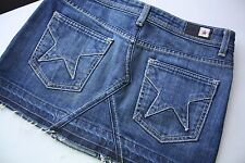 People's Liberation Irene Raw Edged Stretch Denim Jean Mini Skirt 24