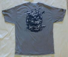 Sea Fear T Shirt Mens XL Grey Short Sleeve Sharks Skull Moray Eel