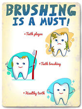 Dentist funny Metal Sign vintage style kids tooth brushing wall decor plaque 572