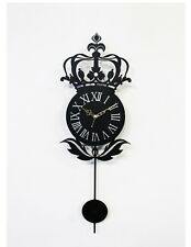 Antique Pendulum Crown Wall Clock Modern Design Home Interior Noiseless - Black