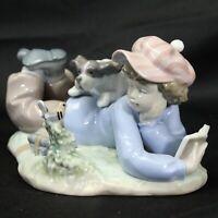 Lladro Spain Porcelain 5451 Study Buddies Boy with Dog & Bird Figurine