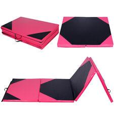 "4'x10'x2"" Gymnastics Mat Thick Folding Panel Gym Fitness Exercise Pink & Black"