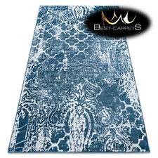 ORIGINAL Designer Rug 'RETRO' CHEAP Vintage carpets HE190 Trellis blue white