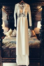 Parisian Style Long Sleeved Backless Wedding Dress Size 10