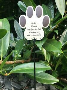 Pet Cat Paw Memorial Stick / Stake Remembrance Tribute Plaque