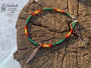 Bracelet Native American Anklet, Handmade Anklet, Howlite, Beaded Anklet