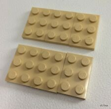 6x Lego Tan, Sand Plate 2 x 3 Part no 3021