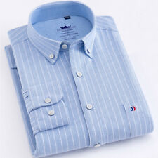 Mens Dress Shirts Long Sleeves Striped Formal Casual Business Work Camisas E6439