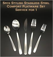 5pcs - New Modern, Stylish & Classic Stainless Steel Flatware Set for 1