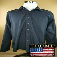 Donald J Trump French Cuff 18-34/35 CLASSIC Blue Long Sleeve Shirt Button Down