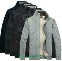Men's Wool Fur Lining Fleece Warm Outwear Cardigan Sweater Coat Casual Jackets