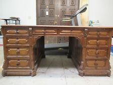 Antique Original Civil War Era Executive Lawyers Partners Desk w/ Leather Top