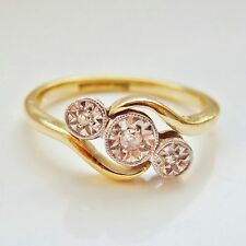 "Antico Periodo edoardiano 18 KT Oro Diamante trilogia Anello c1910; misura UK ""K"""