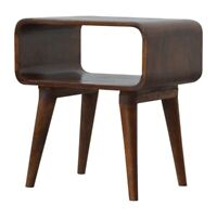 Solid Dark Wood Scandinavian Style Curved Edge Open Bedside Table Cabinet