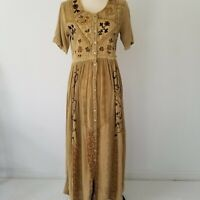 Vintage MPH Maxi Dress Embroidered Boho Gypsy Lagenlook Tan & Brown Color Small