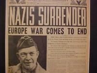 VINTAGE NEWSPAPER HEADLINES ~WORLD WAR EUROPE NAZI ARMY SURRENDER WWII ENDS 1945