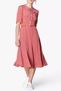 New L.K. Bennett Montana Print Silk Dress Size UK 16