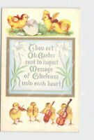 PPC POSTCARD EASTER CHICKS PLAYING INSTRUMENTS AND HATCHING FROM EGG EMBOSSED
