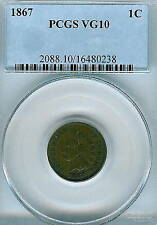1867 Indian Cent : PCGS  VG10