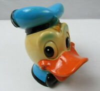 Vintage Walt Disney 1970s Plastic Donald Duck Head Money Plastic Coin Bank