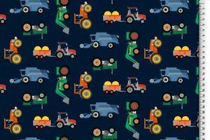 Baumwoll-Jersey Traktoren/Mähdrescher  dkl-blau - ab 0,25m bei 1,50m Stoffbreite