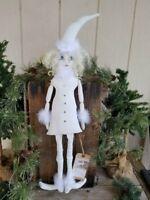 "PRIMITIVE FOLK ART WINTER SNOW ELF ART DOLL ""CRYSTAL"" SNOW PEOPLE MAN LADY"