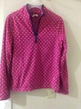 Old navy girl pink with white Polk dot 1/3 zipper front fleece top size:XL(14)