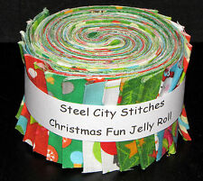 "Christmas Fabric - Fun Kids Holiday Winter Jelly Roll 20 Fabric Strips 2.5"" Wide"