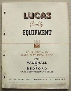 LUCAS VAUXHALL & BEDFORD Cars Commercial Equipment Spare Parts List 1951 #CCE904
