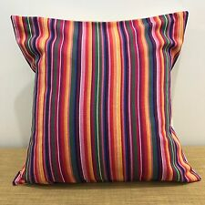 "18"" (45cm) Bright Mexican Fabric Striped Cushion Pillow Cover. Made Australia"