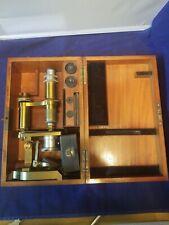 Antique F. W. Schieck, Berlin S.W. Solid Brass Microscope #17048 Wooden Case ++