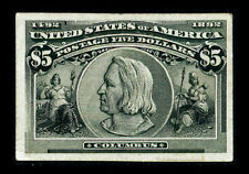 US #245P4; $5 COLUMBIAN PLATE PROOF ON CARD, VF-NGAI, CV $375