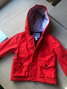 Jacadi Boys Red Lined Raincoat Sz 36 Months ☔️