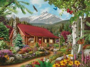 Jigsaw Puzzle Landscape Cabin Mountain Hideaway 300 EZ Grip piece NEW Alan Giana