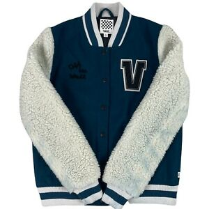 Van's Mens Varsity Jacket Size Small Green White Sleeves College Jacket