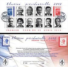 """PRES12-7C Carnet Porte-timbres """"1er TOUR Election Présidentielle France"""" 2012"""