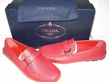 100% AUTHENTIC NEW MEN PRADA SAFFIANO RED LEATHER DRIVER/MOCCASINS UK 8/US 9 D