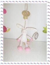 ¶ - Doudou Peluche Lapin Blanc Rose Cupcakes   Attache Sucette Diinglisar