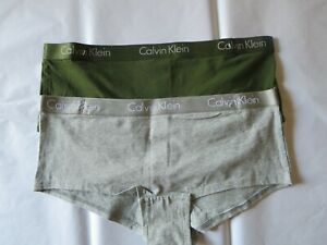 CALVIN KLEIN COTTON BOYSHORT PANTY, 2 PACK #QP1897O  GRAY & GREEN, MEDIUM, NWOT*