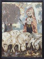 Pesset Jano Huile sur toile signée le berger et ses moutons l'agneau art brut