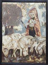Jano Pesset Huile sur toile signée le berger et ses moutons l'agneau art brut