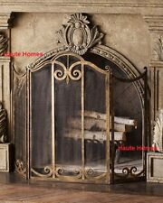 french fireplace screens. NEW Horchow FRENCH THREE Panels SCROLL Gold Fireplace Screen MESH backing French Country Screens  Doors eBay