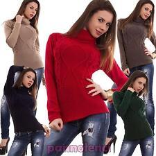 Maglione donna pullover collo altro intreccio maniche lunghe lana nuovo AS-18