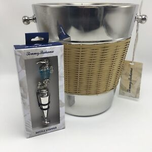 Tommy Bahama Stainless Wicker Ice Bucket Wine Chiller Barware Tiki Party Mancave