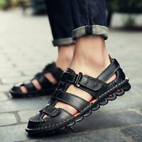 Fashion Mens Casual Leather Sandals Hollow Out Closed Toe Summer Shoes Soft Sole