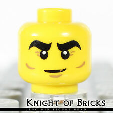 Lego Male YELLOW Minifigure Head Thick Eyebrows Brown Crow's Feet Cheek Lines