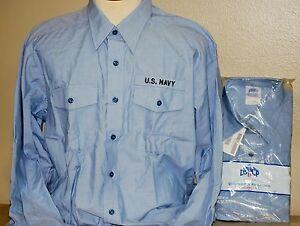 US MILITARY NAVY USN BLUE CHAMBRAY UTILITY WORK LONG SLEEVE SHIRT WOMEN/'S 44x32