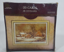 New Sealed Vtg Christmas Cards Set 20 Env Currier & Ives Winter in the Country