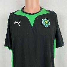 Puma Sporting Clube de Portugal Lisbon T Shirt Embroidered Soccer Black Size L