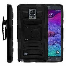 For Samsung Galaxy Note 4 N910 Holster Clip Kickstand Heavy Duty Black Case